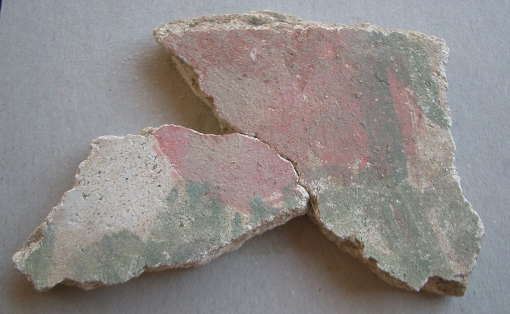 Fragments of wall painting of the late antique period.